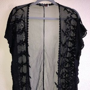 EUC Black Lace Vest Cardigan